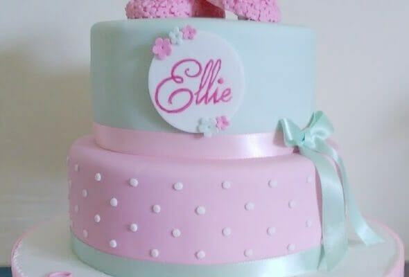 Mint and Pink Christening Cake