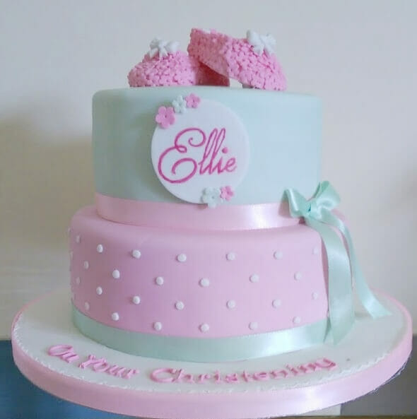 pink and mint bootee christening cake